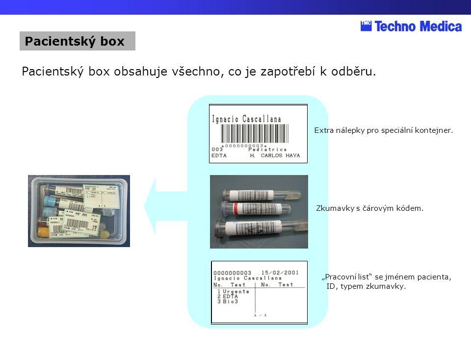 Pacientský box obsahuje všechno, co je zapotřebí k odběru.