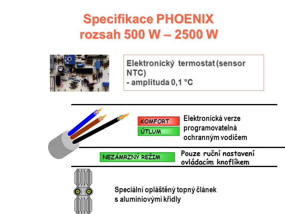 Specifikace PHOENIX rozsah 500 W – 2500 W