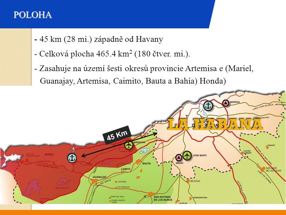 POLOHA - 45 km (28 mi.) západně od Havany