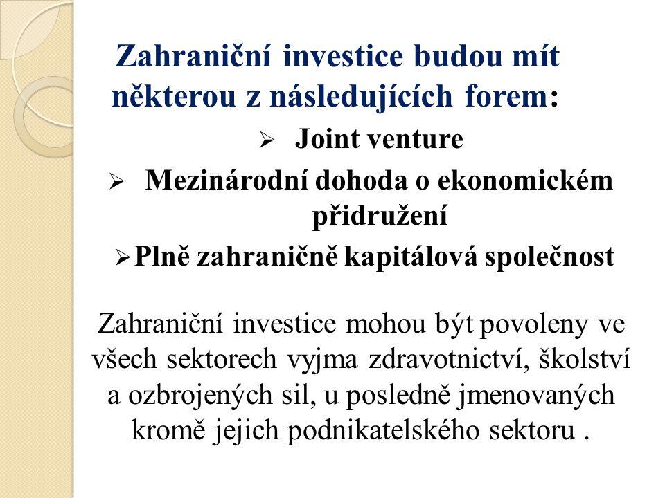 Zahraniční investice budou mít některou z následujících forem: