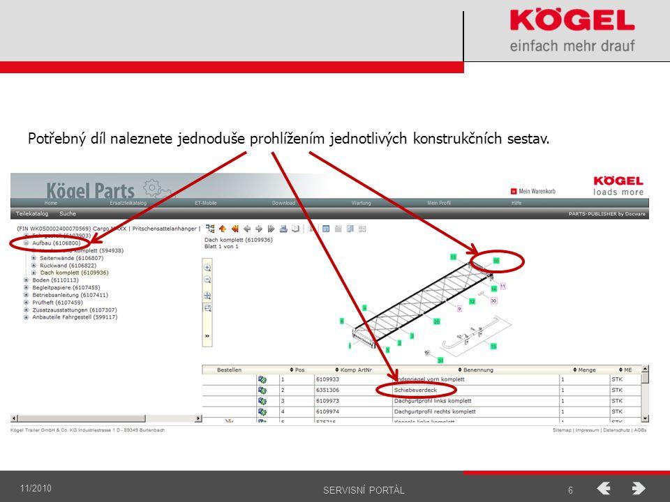 Potřebný díl naleznete jednoduše prohlížením jednotlivých konstrukčních sestav.