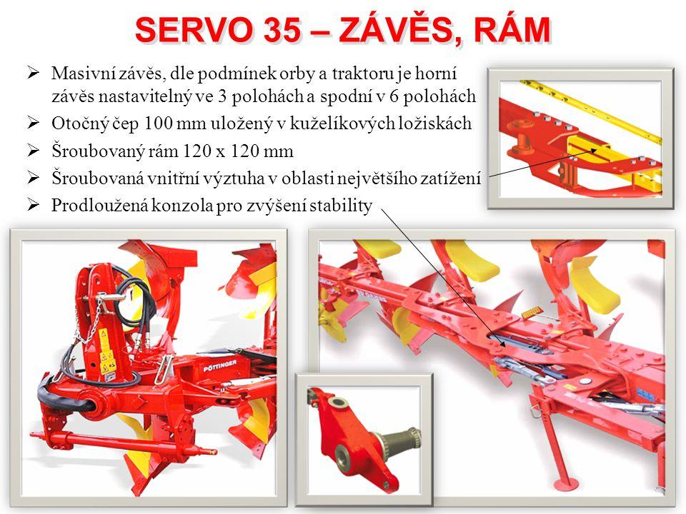 SERVO 35 – ZÁVĚS, RÁM Masivní závěs, dle podmínek orby a traktoru je horní závěs nastavitelný ve 3 polohách a spodní v 6 polohách.