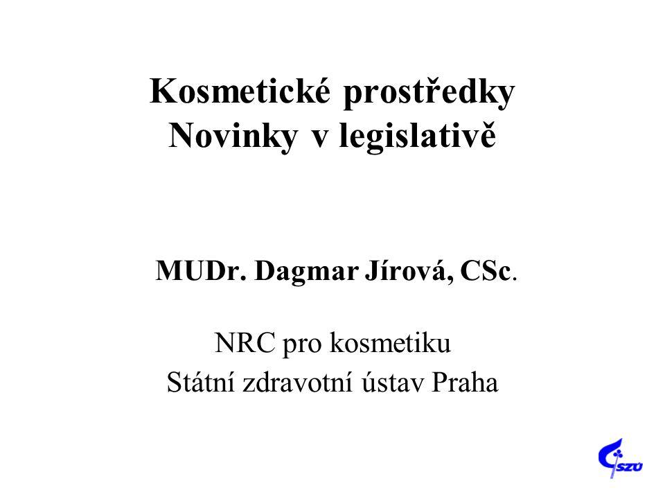 Kosmetické prostředky Novinky v legislativě MUDr. Dagmar Jírová, CSc