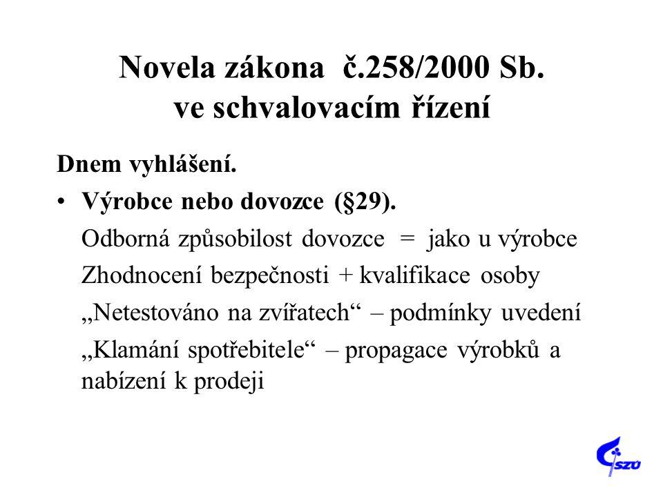 Novela zákona č.258/2000 Sb. ve schvalovacím řízení