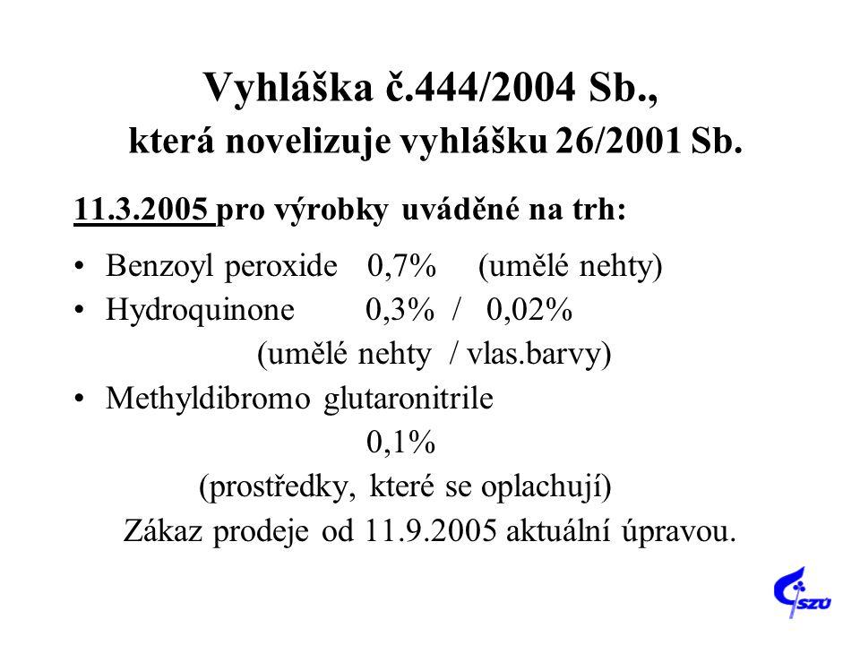 Vyhláška č.444/2004 Sb., která novelizuje vyhlášku 26/2001 Sb.