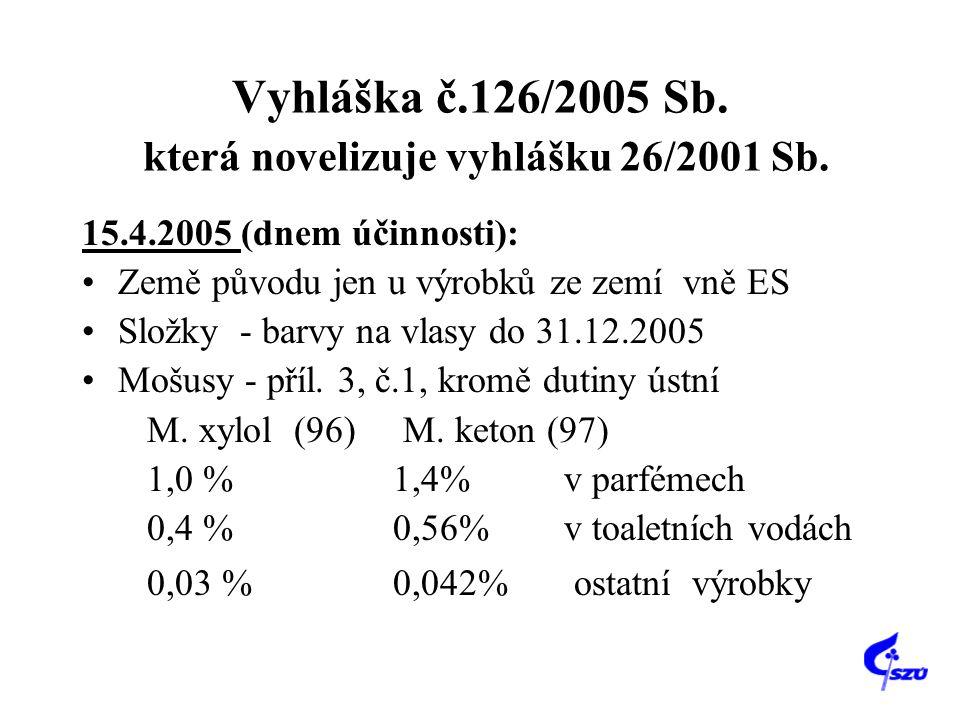 Vyhláška č.126/2005 Sb. která novelizuje vyhlášku 26/2001 Sb.