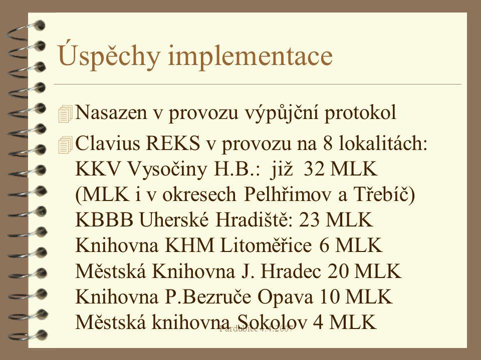 Úspěchy implementace Nasazen v provozu výpůjční protokol