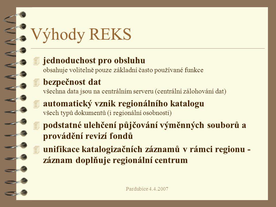 Výhody REKS jednoduchost pro obsluhu obsahuje volitelně pouze základní často používané funkce.