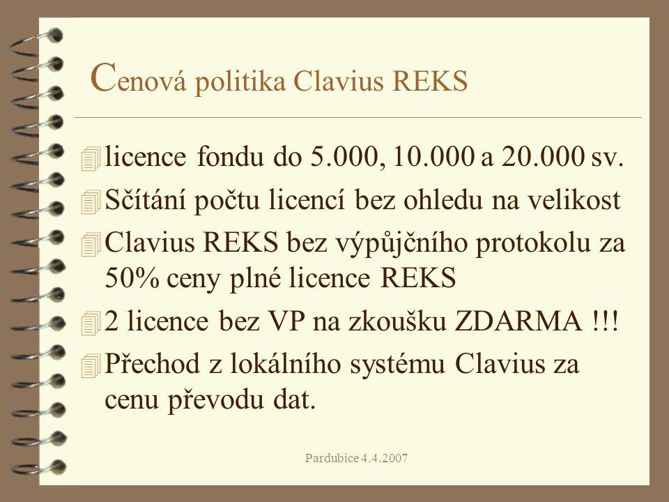 Cenová politika Clavius REKS