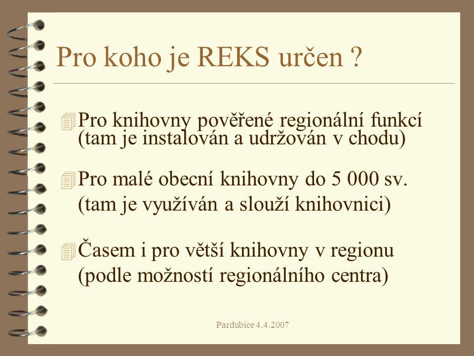 Pro koho je REKS určen Pro knihovny pověřené regionální funkcí (tam je instalován a udržován v chodu)
