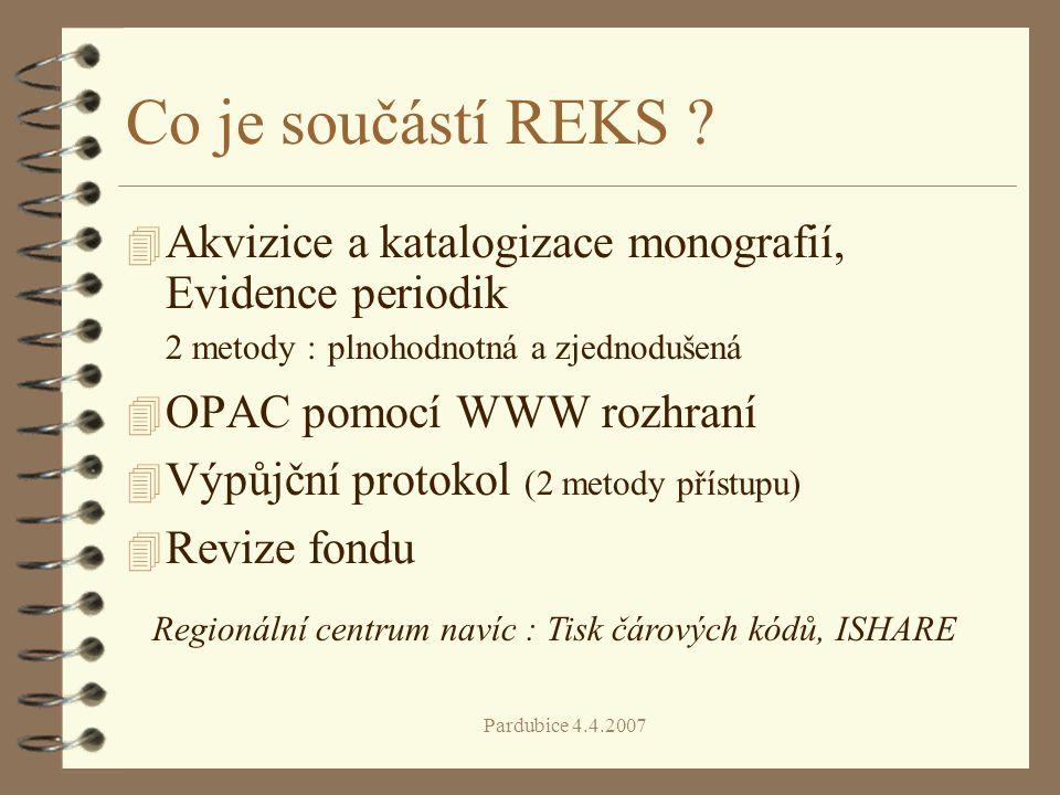 Co je součástí REKS Akvizice a katalogizace monografií, Evidence periodik 2 metody : plnohodnotná a zjednodušená.