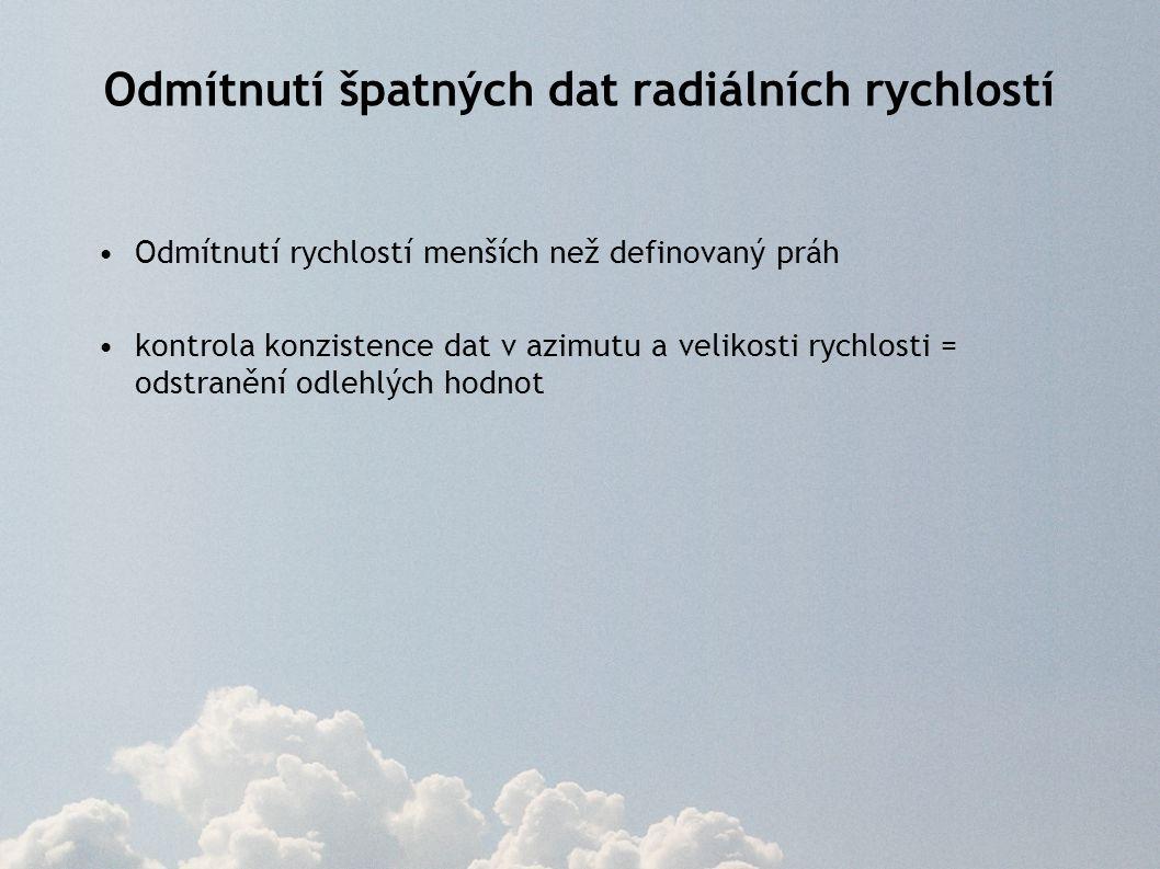 Odmítnutí špatných dat radiálních rychlostí