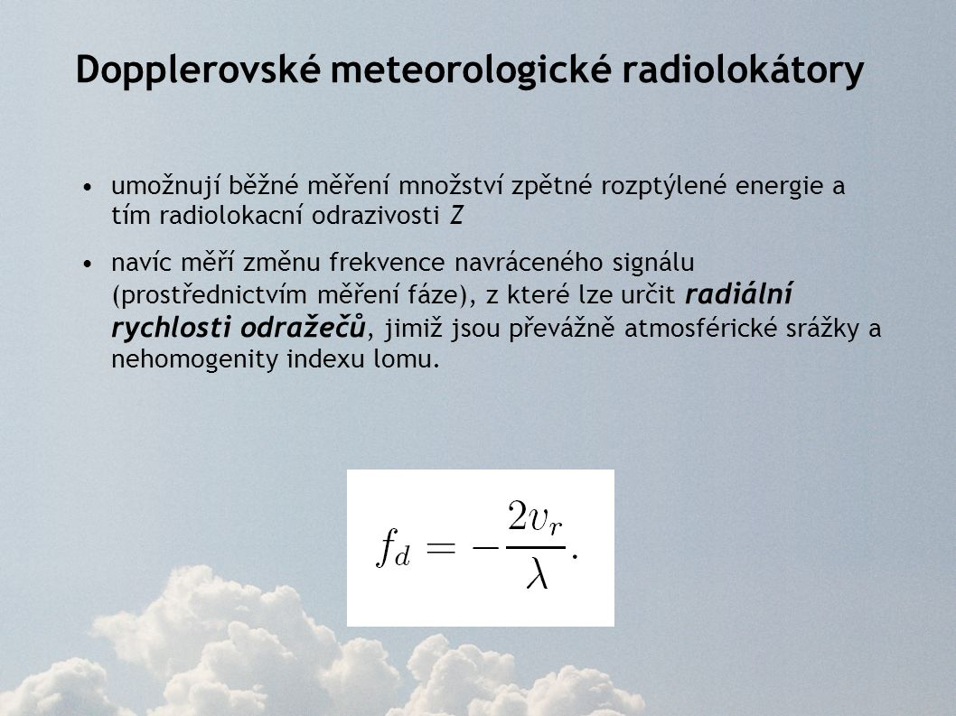 Dopplerovské meteorologické radiolokátory