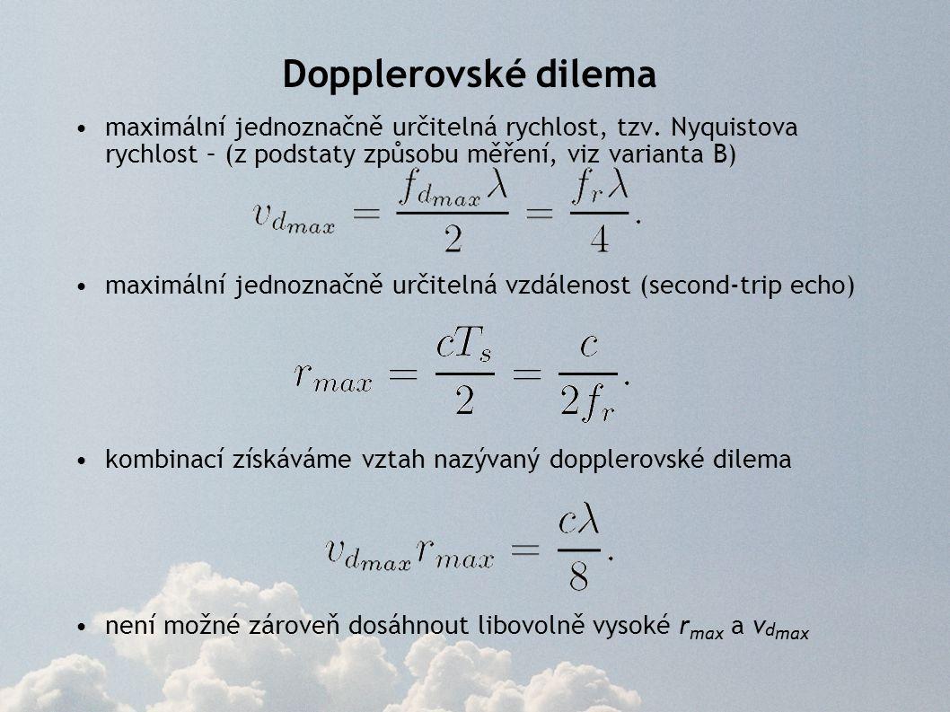 Dopplerovské dilema maximální jednoznačně určitelná rychlost, tzv. Nyquistova rychlost – (z podstaty způsobu měření, viz varianta B)