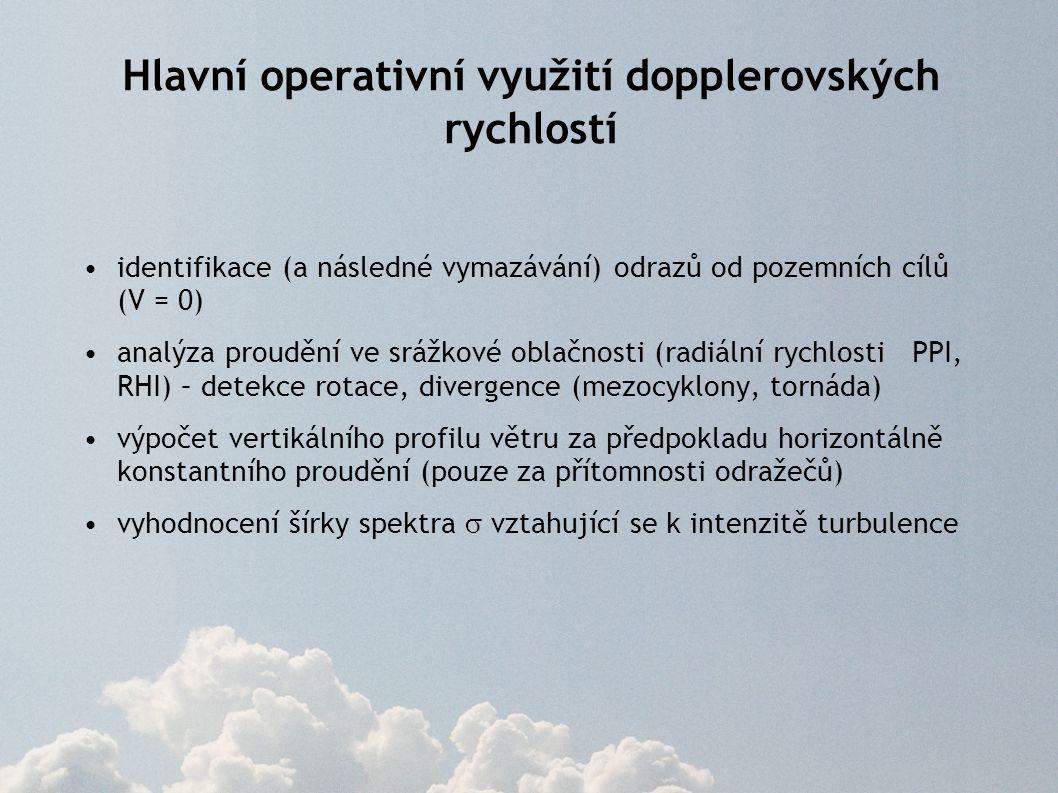 Hlavní operativní využití dopplerovských rychlostí