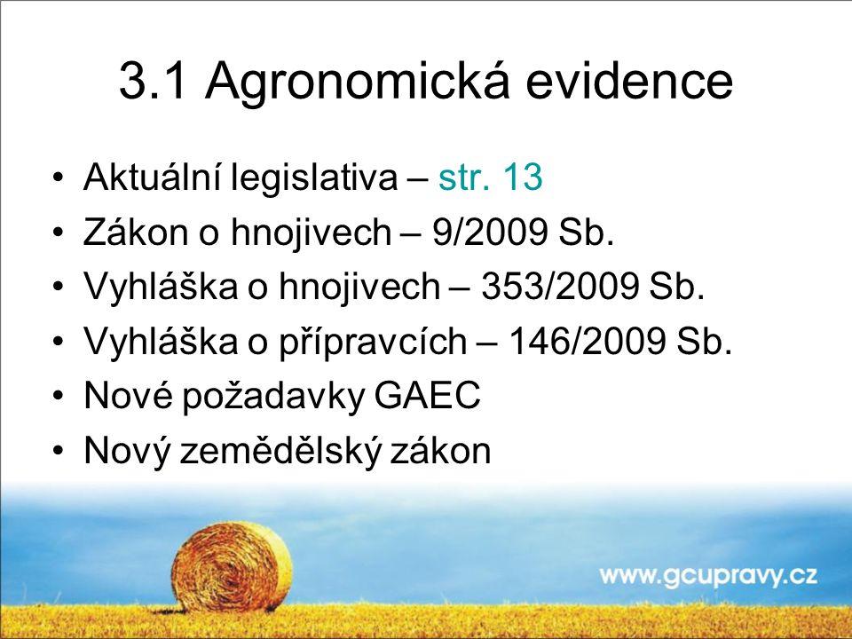 3.1 Agronomická evidence Aktuální legislativa – str. 13