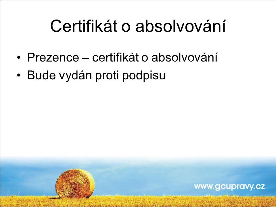 Certifikát o absolvování
