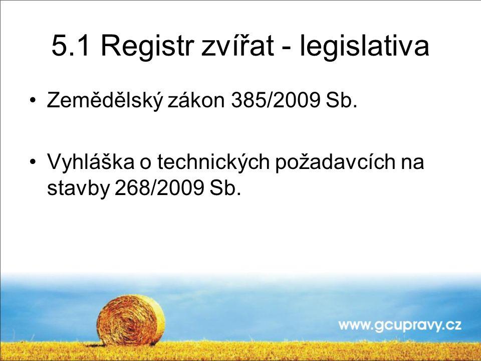5.1 Registr zvířat - legislativa
