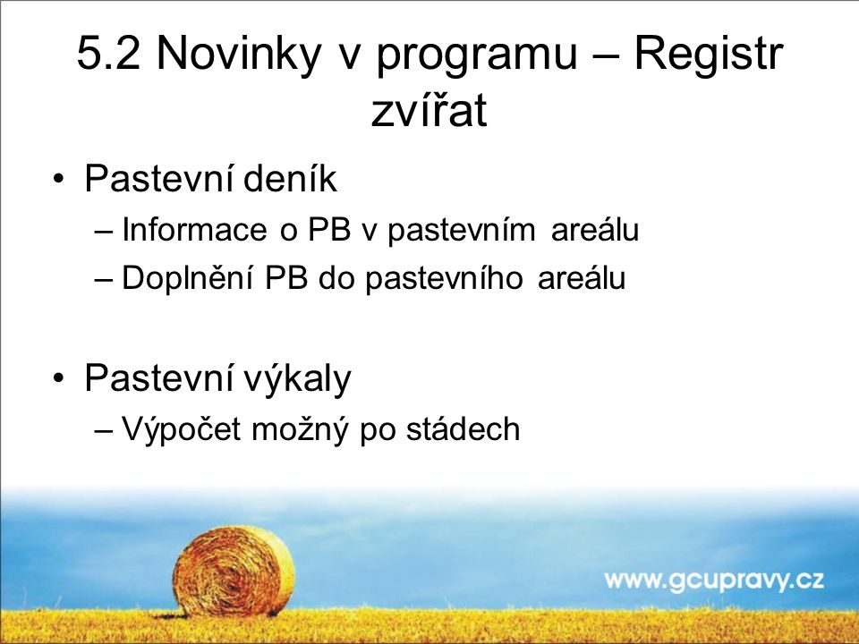 5.2 Novinky v programu – Registr zvířat
