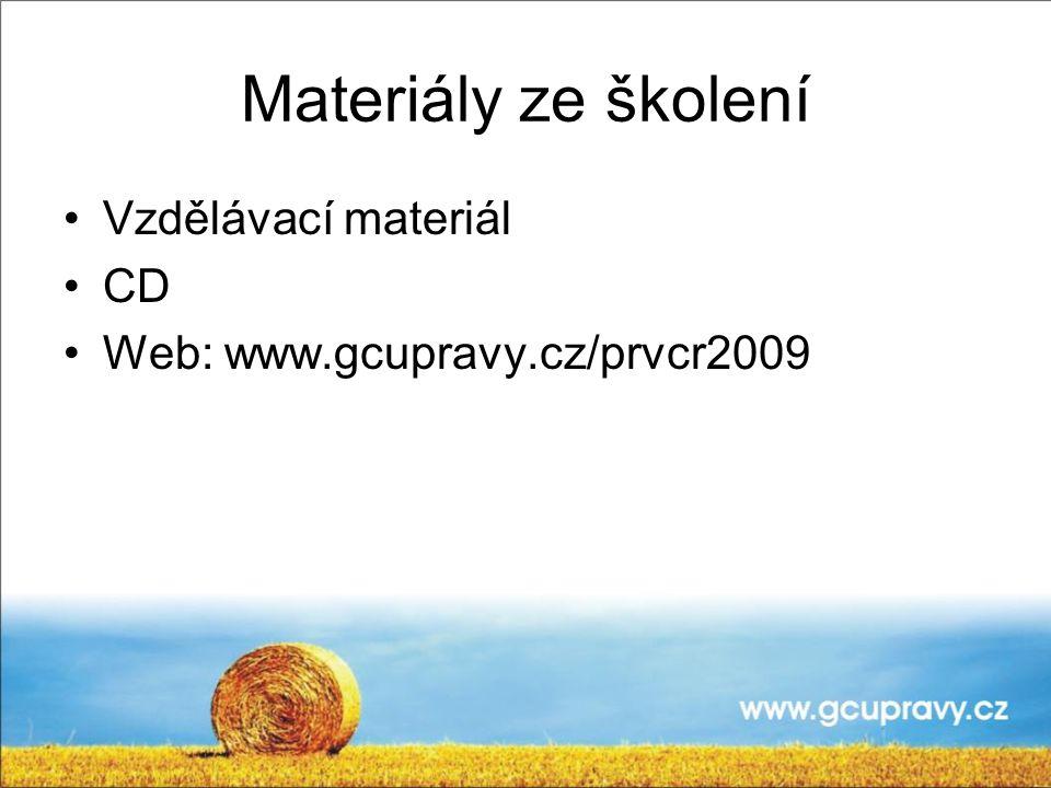 Materiály ze školení Vzdělávací materiál CD