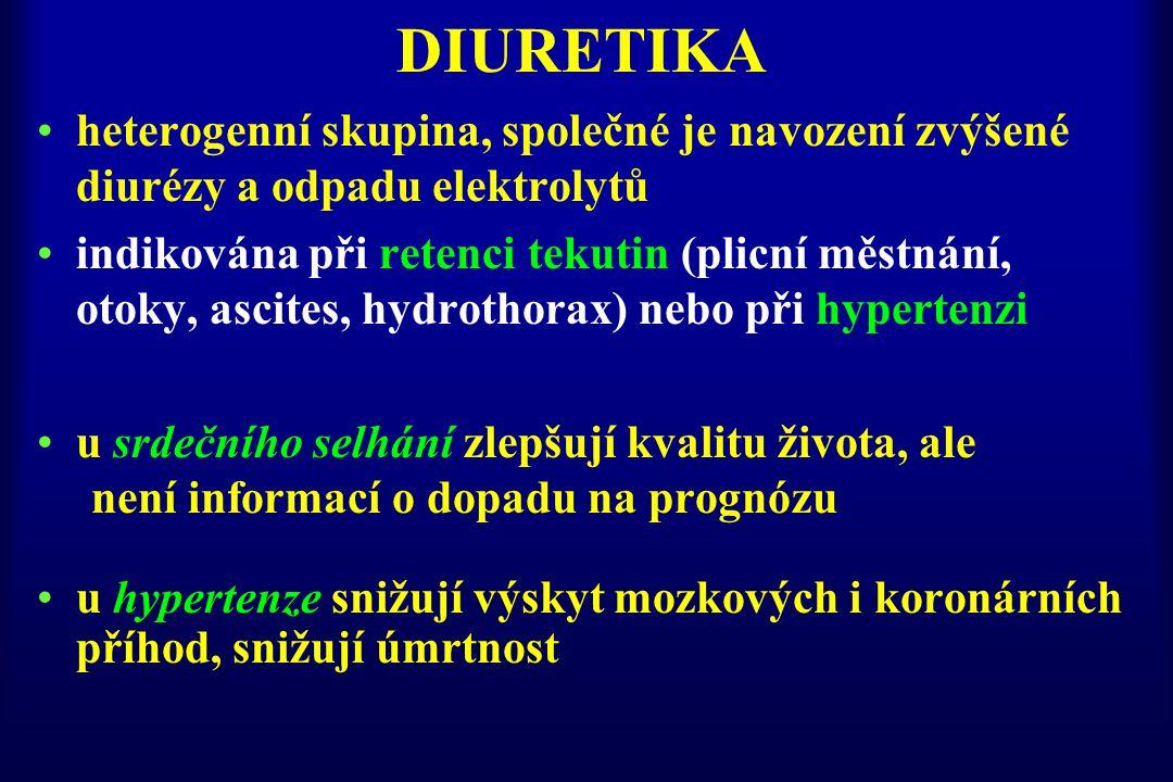 DIURETIKA heterogenní skupina, společné je navození zvýšené diurézy a odpadu elektrolytů.