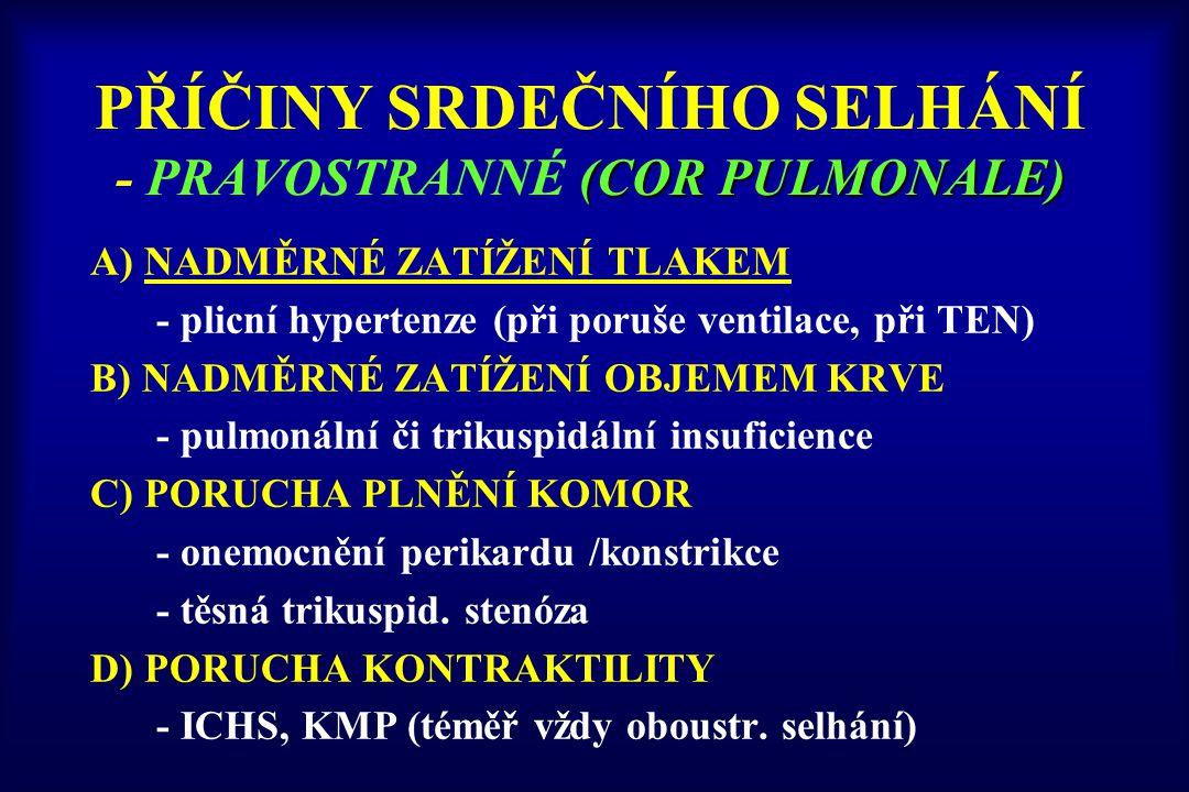 PŘÍČINY SRDEČNÍHO SELHÁNÍ - PRAVOSTRANNÉ (COR PULMONALE)