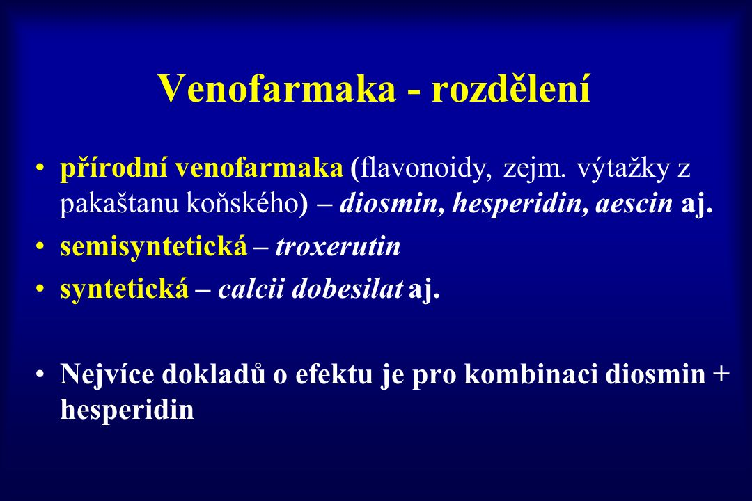 Venofarmaka - rozdělení