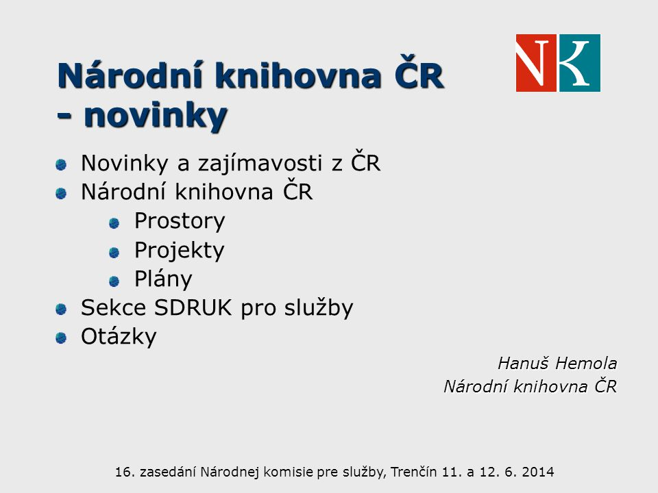 Národní knihovna ČR - novinky