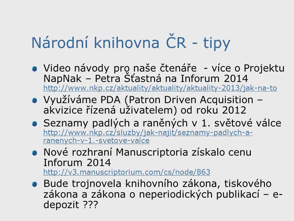 Národní knihovna ČR - tipy