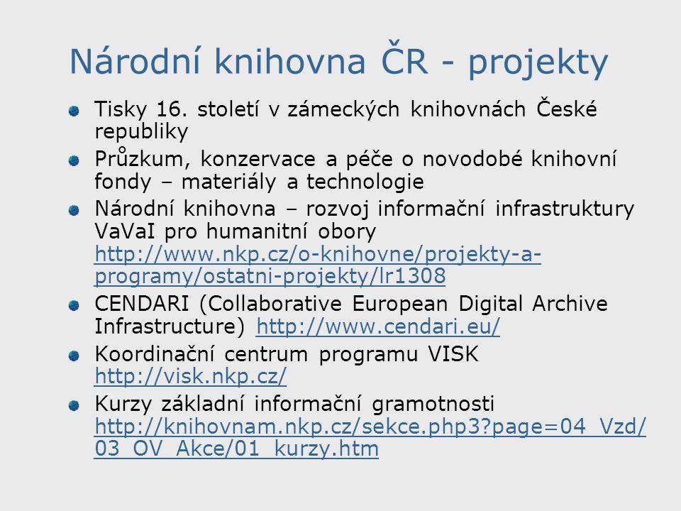 Národní knihovna ČR - projekty