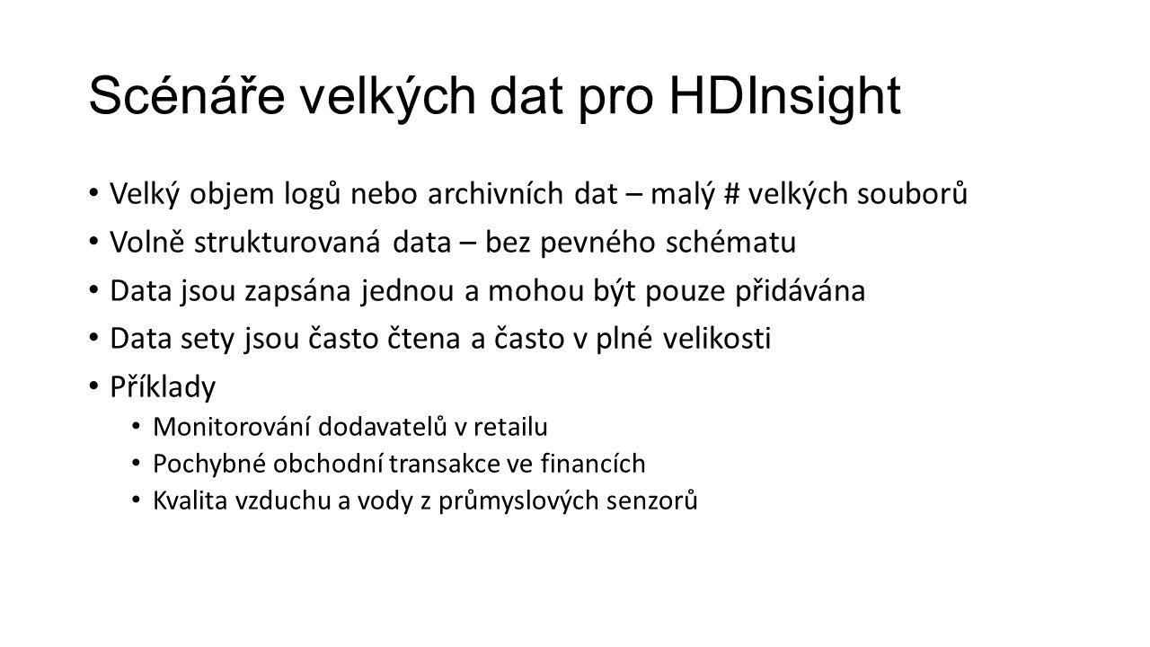 Scénáře velkých dat pro HDInsight