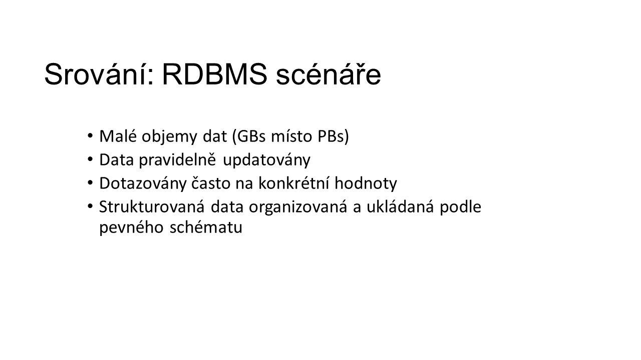 Srování: RDBMS scénáře