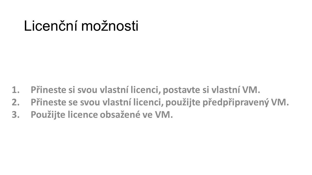 Licenční možnosti Přineste si svou vlastní licenci, postavte si vlastní VM. Přineste se svou vlastní licenci, použijte předpřipravený VM.