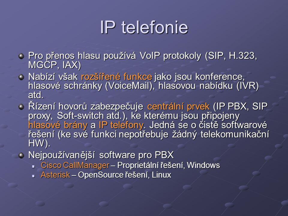 IP telefonie Pro přenos hlasu používá VoIP protokoly (SIP, H.323, MGCP, IAX)