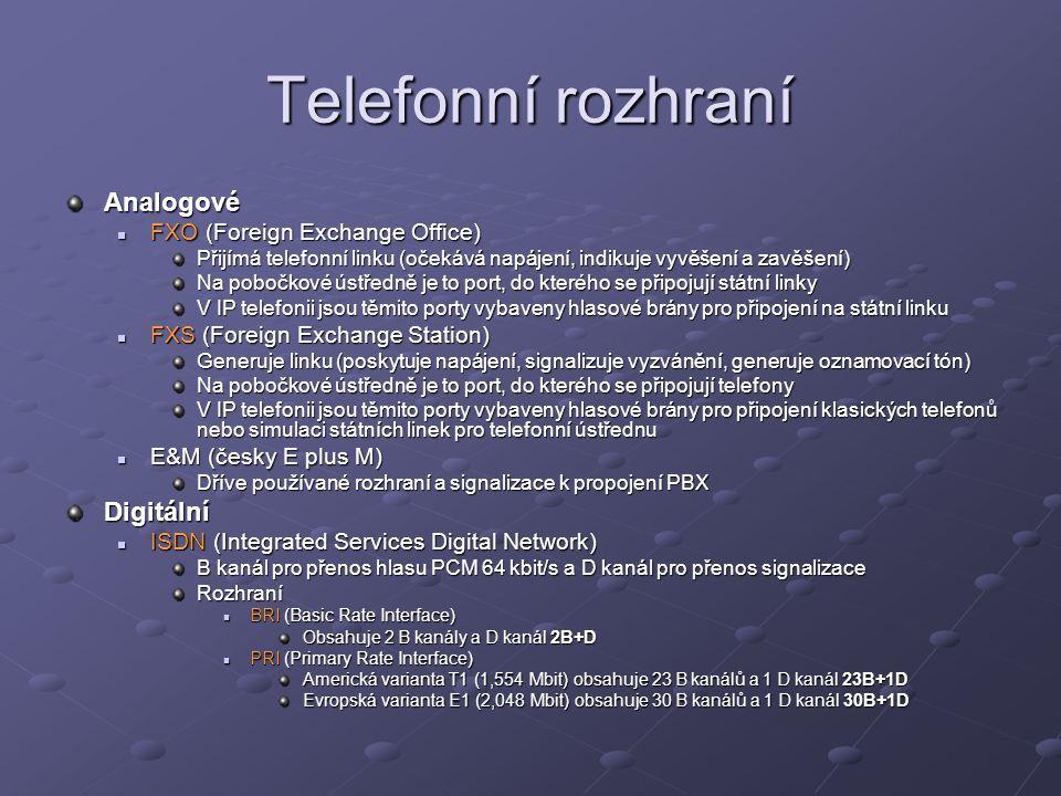 Telefonní rozhraní Analogové Digitální FXO (Foreign Exchange Office)