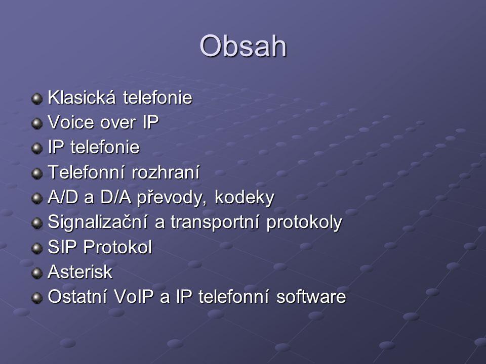 Obsah Klasická telefonie Voice over IP IP telefonie Telefonní rozhraní
