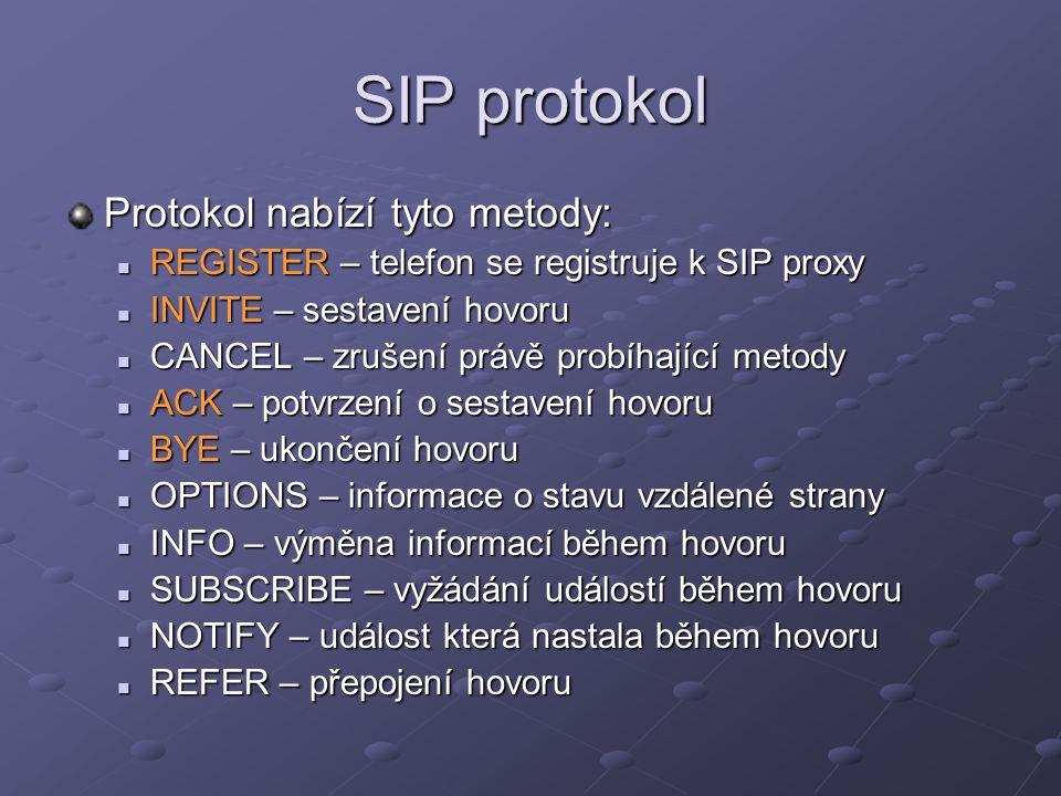SIP protokol Protokol nabízí tyto metody: