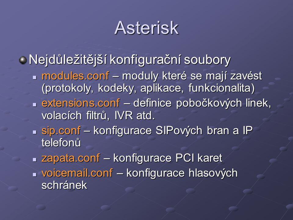Asterisk Nejdůležitější konfigurační soubory