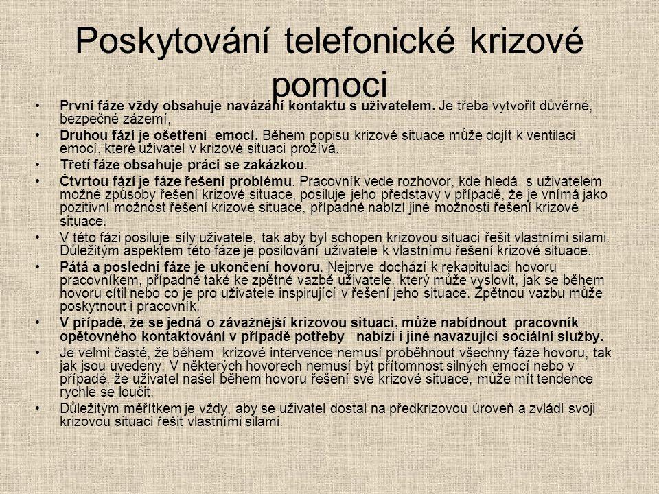 Poskytování telefonické krizové pomoci