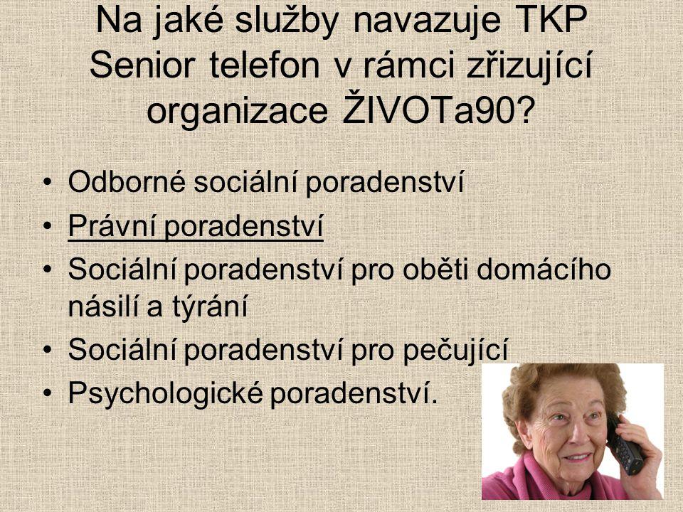Na jaké služby navazuje TKP Senior telefon v rámci zřizující organizace ŽIVOTa90