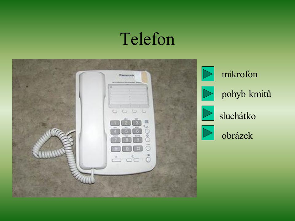Telefon mikrofon pohyb kmitů sluchátko obrázek