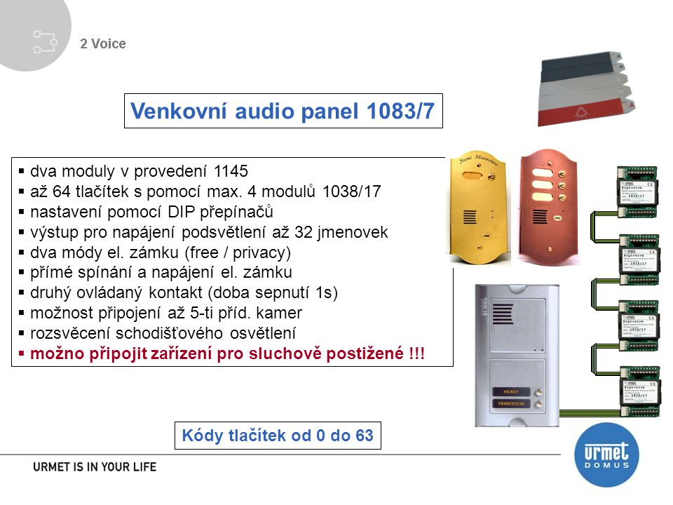 Venkovní audio panel 1083/7 dva moduly v provedení 1145