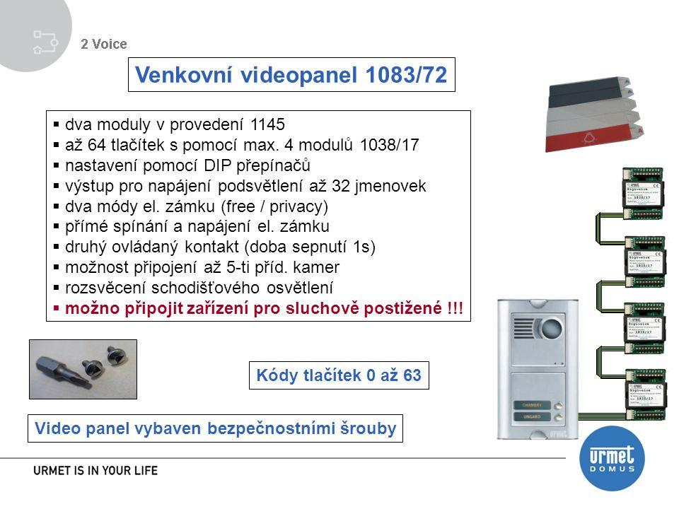 Venkovní videopanel 1083/72 dva moduly v provedení 1145