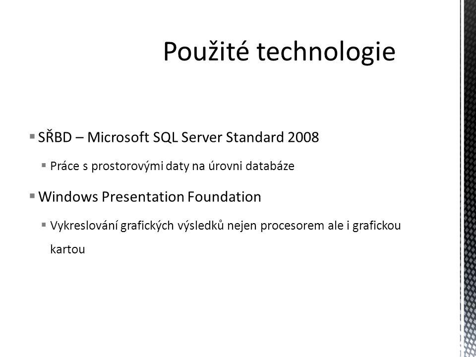 Použité technologie SŘBD – Microsoft SQL Server Standard 2008