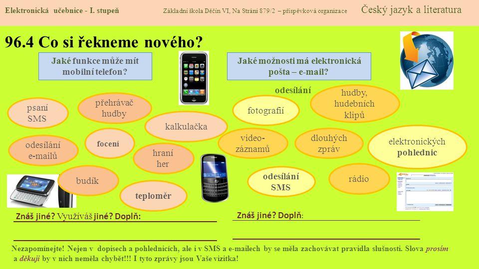 96.4 Co si řekneme nového Jaké funkce může mít mobilní telefon