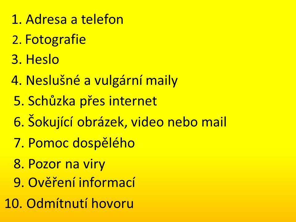 4. Neslušné a vulgární maily 5. Schůzka přes internet