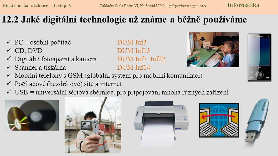 12.2 Jaké digitální technologie už známe a běžně používáme