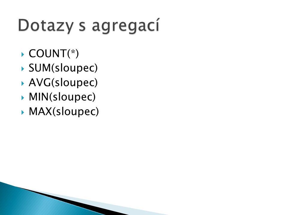 Dotazy s agregací COUNT(*) SUM(sloupec) AVG(sloupec) MIN(sloupec)
