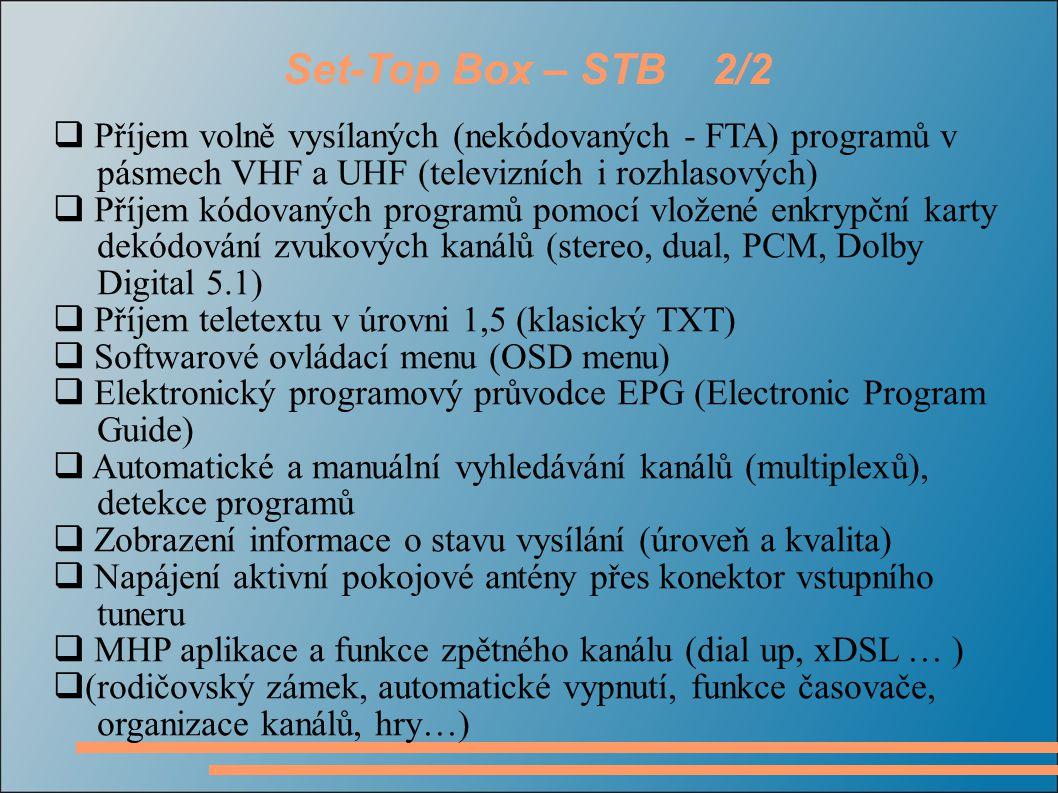 Set-Top Box – STB 2/2 Příjem volně vysílaných (nekódovaných - FTA) programů v pásmech VHF a UHF (televizních i rozhlasových)