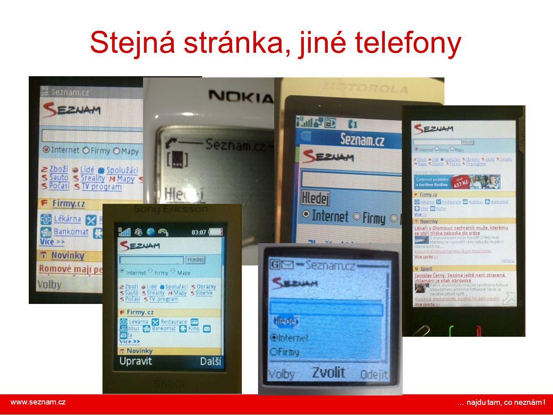 Stejná stránka, jiné telefony